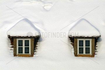 Dachgauben im Schnee
