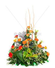 Beautiful bouquet of orange roses Isolated on white background