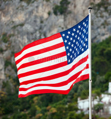 American flag over natural scenery with mountains and trees