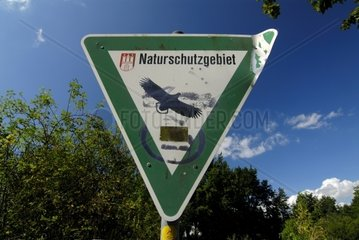 Sign Nature Reserve with Hamburgs Coat of Arms