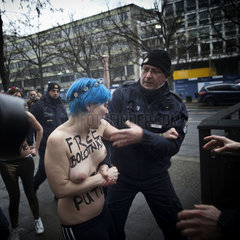 Femen Protest in front of Russian Embassy