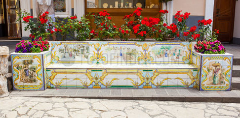 Bench of ceramic tiles decorated with lemons and human figures  Capri
