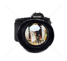Digital photo camera on white background with groom and bride