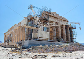 Construction work at the Parthenon  Athens  Greece