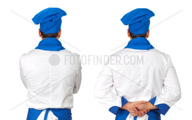 Turned chef isolated on white background