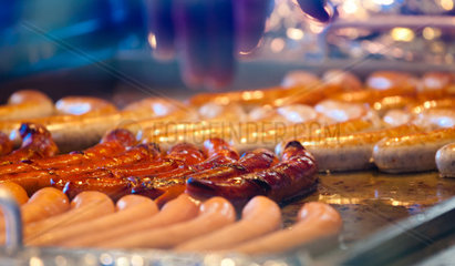 German sausages on the barbecue grill  Munich  Germany