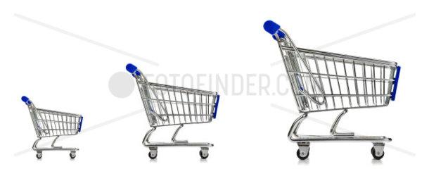 three Isolated Shopping Cart on white background
