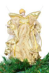 Tip in the shape of angel on top of the Christmas tree