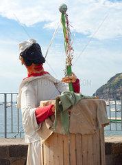 Pulcinella  typical Neapolitan folkloric personage near the sea