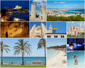 Collage of Palma De Mallorca with the major attractions