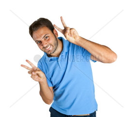 Happy guy shows Victory sign with both hands