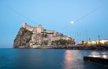 Aragonese Castle by night in Ischia island  Italy