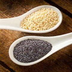Sesame seeds and poppy seeds in the spoon
