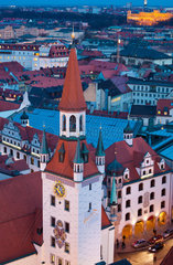Aerial view of old town tower by night  Munich  Germany