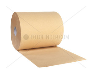Roll of recycled paper on white background