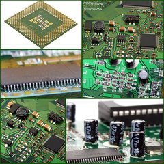 Collage of macro computer micro circuit board