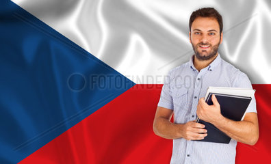 Young smiling student learns the czech language