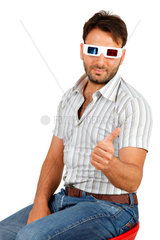 Portrait Of A Young Man Wearing 3d Glasses