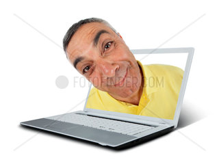 Surprised man with notebook and WOW expression on white backgound