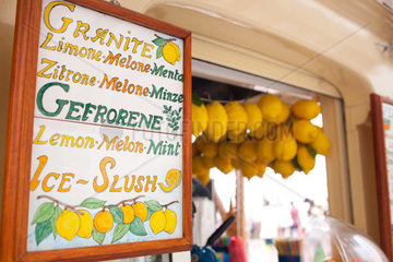 Lemon ice cream kiosk in Capri  Italy