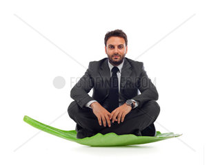 Businessmanlin the leaf on white background