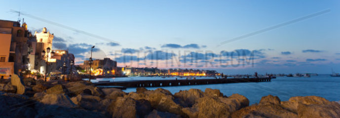 Bay by night of Ischia island  Italy