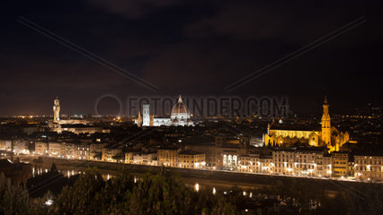 Best vief of Florence by night from Piazzale Michelangelo  Italy