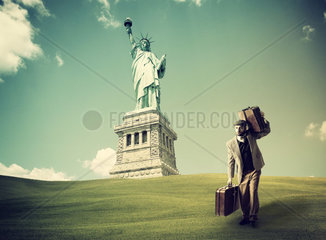 Immigrant with the suitcases arriving in New York