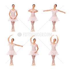 Collage of the positions of classical ballet on white background