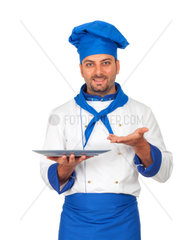 Handsome chef isolated on white background