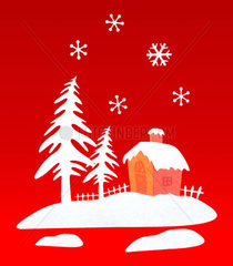Representation with Christmas house in the woods with snow