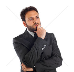 Young businessman thinking and reflecting on white background