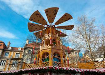 Typical wooden christmas carousel  Munich  Bavaria  Germany
