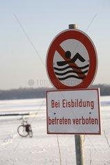 Sign  Frozen Lake  Bike