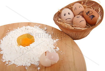 Eggs afraid in the basket near the preparations for the cake