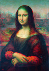 Die Mona Lisa als anaglyphisches 3D-Bild