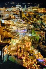 Oia village in Santorini island by night  Greece