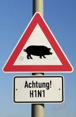 Verkehrszeichen Schweinegrippe