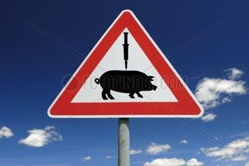 Verkehrszeichen Impfung gegen Schweinegrippe