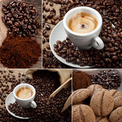 Coffee Collage with espresso and coffee beans