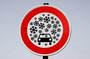 Schild Schneefall  Bildmontage