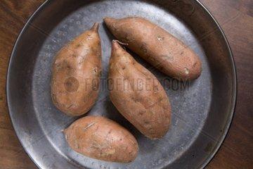 sweet potatoes in a metal bowl