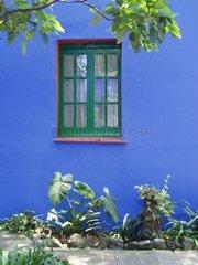 Gruenes Fenster in blauer Wand