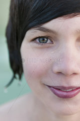 Teenage boy with wet hair  close-up portrait