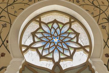 Ornate stained glass window  Sheikh Zayed Mosque  Abu Dhabi  United Arab Emirates