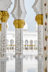 Ornate columns  Sheikh Zayed Mosque  Abu Dhabi  United Arab Emirates