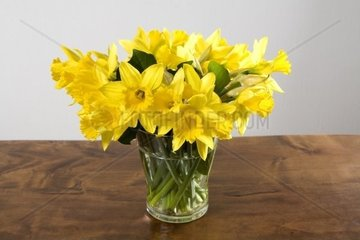 daffodils in a glass vase on a wooden table