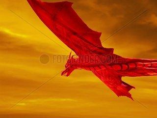 Roter Drache fliegt durch einen schwefelgelben Himmel