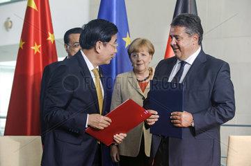 Li Keqiang + Miao Wei + Merkel + Gabriel