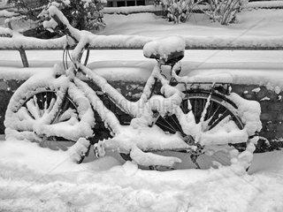 Verschneites Fahrrad